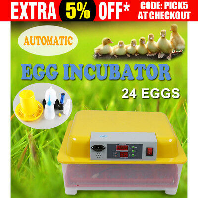24 Egg Incubator Fully Automatic Digital Auto-Turning Chicken Duck Eggs Poultry