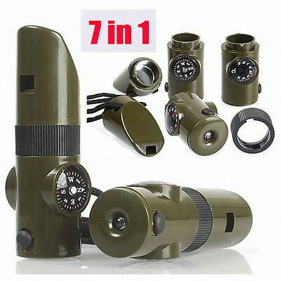 7in1 LED Flashlight Camping Survival Whistle Compass Thermometer Fire Magnifier