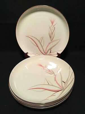 """WINFIELD CHINA CALIFORNIA  POTTERY DRAGON FLOWER Four DINNER PLATES 10 1/4"""""""
