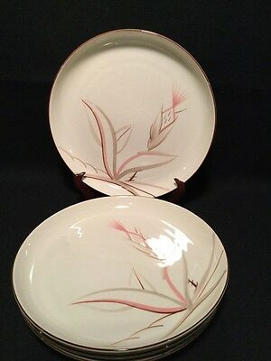 """WINFIELD CHINA CALIFORNIA  POTTERY DRAGON FLOWER Four 4 DINNER PLATES 10 1/4"""""""