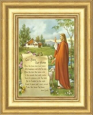 God Bless Our Home Bless This Home Dear Lord Jesus Framed Picture - Gold Frame