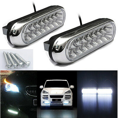 2x 16 LED Car Van Day Driving Daytime Running DRL Fog White Light Auto Lamps UK