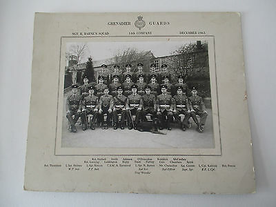 14th COMPANY GRENADIER GUARDS PHOTO - DECEMBER 1963 - ALL NAMES - DOG MASCOT
