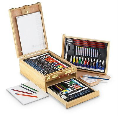 Easel Artist Set 104-Piece All Media Wooden Case Artwork Craft Drawing Supply