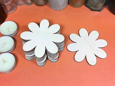 WOODEN DAISY Shapes 10cm (x10) wood flower cutout craft shape blanks