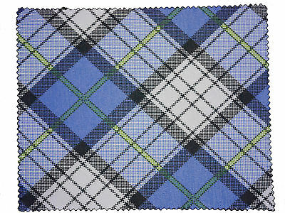 Small Premium Microfibre Lens Cleaning Cloths Blue Tartan Spec Glasses Cleaner