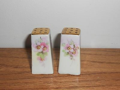 Vintage Floral Flowers Salt & Pepper Shaker Set with Gold Tops