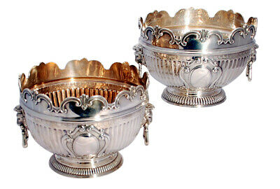 Pair of English Victorian Sterling Silver Monteith Bowls
