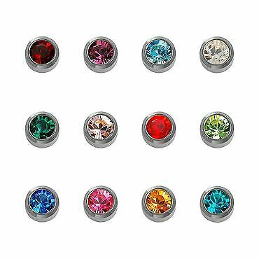 Caflon Stainless Steel Silver Mini Assorted Birthstone (12)