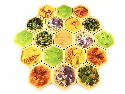 Settlers of Catan 5e Replacement Terrain Land Hex / Tile Complete Set 19pc
