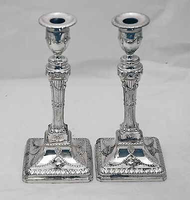 Pair of Sheffield English Sterling Silver Candlesticks