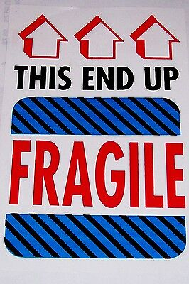 50 4x6 FRAGILE GLASS HANDLE WITH CARE THIS END UP LABEL STICKER