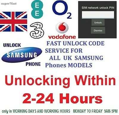 Unlocking code for Samsung Galaxy S2 3 4 5 S6 EDGE PLUS, mini Note 1 J5 EE O2 3