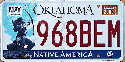 Oklahoma ARCHER Native America License Plate - INDIAN BOW ARROW