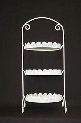 White Oblong Oval Laser Cut Metal 3 Tier Cake Stand