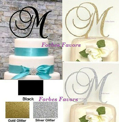 Monogram Letter Acrylic Cake Topper Wedding Engagement In Many Colors