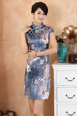 Women Chinese Dress Qipao Cheong-sam Grey White Cotton Floral