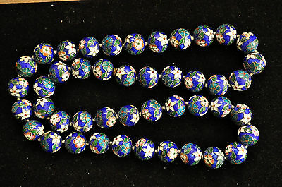 Antique Chinese Large Floral Cloisonne Beads Necklace