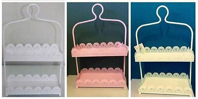 Rectangle White/ Pink/ Light Green/ Laser Cut Metal 2 Tier Cake Stand