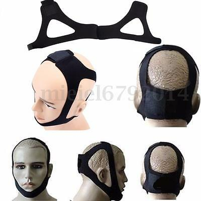 Anti Snore Stop Snoring Sleep Apnea Strap Belt Jaw Solution Chin Support Black