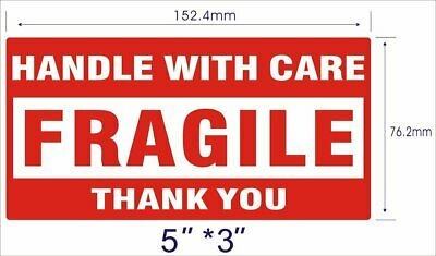 2 Rolls 500/Roll 3x5 Fragile Labels/Stickers Handle With Care Thank You
