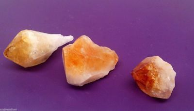3x Citrine Money Wealth Crystal Reiki Healing Natural Points Gemstones 40-55mm