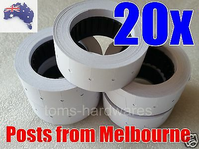 20x Rolls Price Labels White 21mm x 12mm for Motex MX-5500 / CN5500 5500 etc