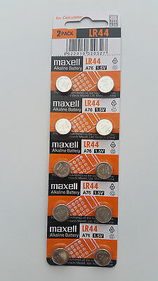 10x Maxell LR44 A76 1.55v Alkaline Batteries Expiry 10/2020  Post from MELB