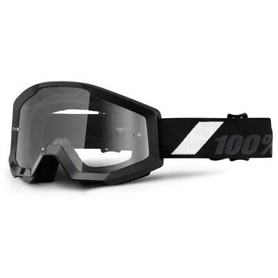 100% Percent NEW Mx Strata Goliath CHEAP Dirt Bike Clear Black Motocross Goggles
