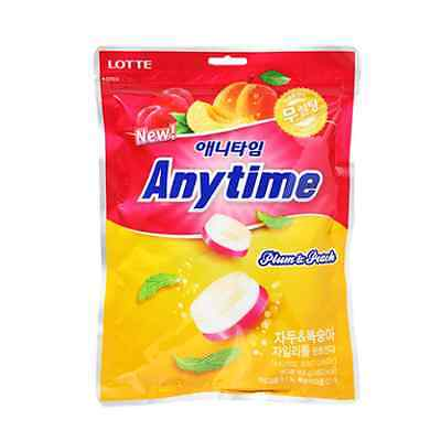 NEW Lotte Anytime Xylitol Mint Candy Plum Peach Flavor 74g SugarFree Low Calorie