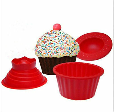 3Pcs Giant Big Silicone Cupcake Mould Mold Top Cake Muffin Bake Baking Party HC