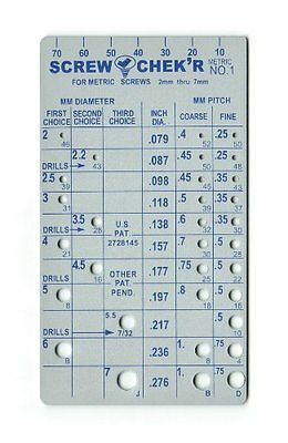 Metric Screw Checker 2mm to 7mm - Made in USA