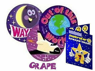 60 Scratch & Sniff Earth and Space Grape Scented Reward Stickers & Reward Chart