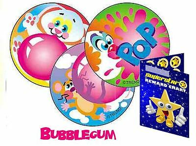 60 Scratch & Sniff Blowing Bubbles Bubblegum Scented Reward Stickers & Chart