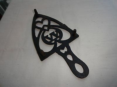 Vintage Black Wrought Iron Sad Iron Trivet - Initial W In The Center