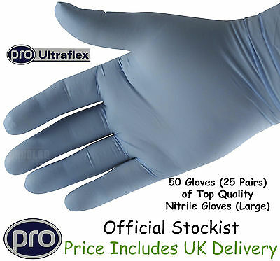 Gloves Nitrile Rubber Superior Powder Free Heavy Duty Large 25 Pair  = 50 Gloves