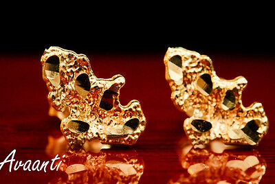 Real 10K Gold Nugget Design Style Push Back Stud Earrings