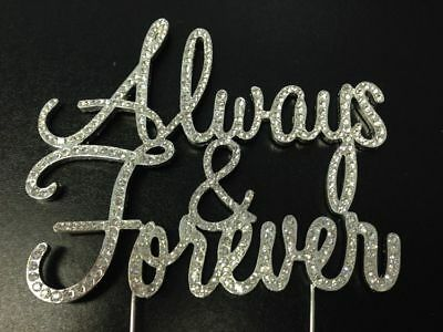Large Real Rhinestone Always and Forever Silver Wedding Love Cake Topper