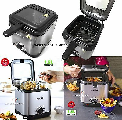 BRAND NEW 1.5L Deep Fryer Power Control + Removable Basket Stainless Steel 900W