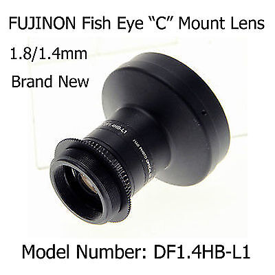 """Fujinon DF1.4HB-L1 Fish Eye """"C"""" Mount Lens   Complete with Mount Adapter - New"""