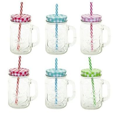 2 - 6 X Clear Glass Mason Jars Drinking Summer Cocktail Jar Handle & Straw 450Ml