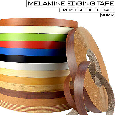 High Quality 20 mm Pre Glued Iron On Edging Melamine Veneer Tape Strips Colors