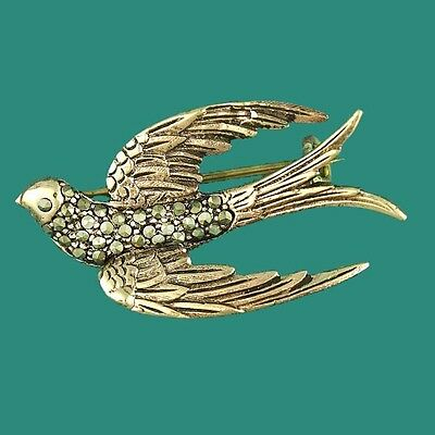Gorgeous Vintage Rose Gold Swallow Bird Brooch Pin with Marcasite 1950s Style