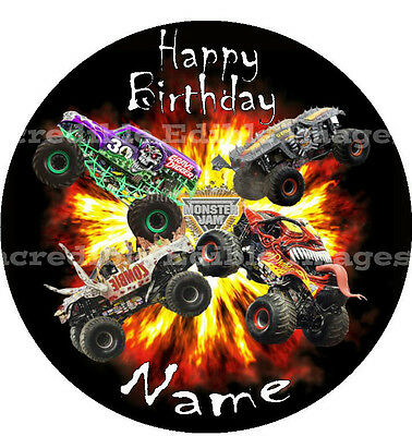 Monster Jam Trucks Personalised Edible ICING Cake Party Decoration Topper