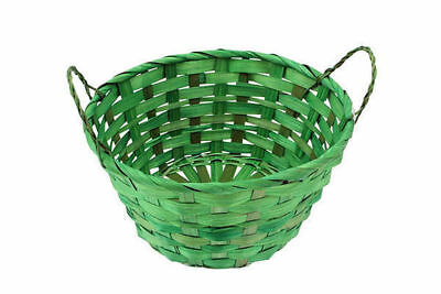 72 easter bamboo basket round with  2 handles blend 20x10cm bulk wholesale lot