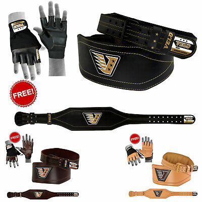 "VELO Weight Lifting Leather 4"" Belt Power Gym Training Lever Powerlifting Straps"