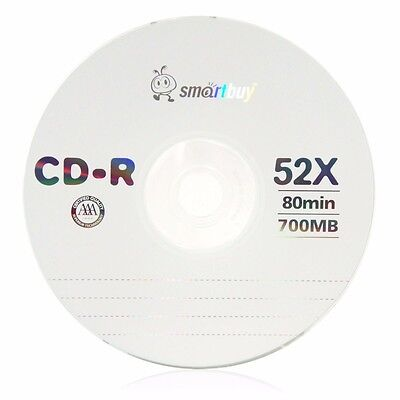 3 Pack Smartbuy CD-R 52X 700MB/80min Logo Blank Record Disc w/ 3 pc paper sleeve