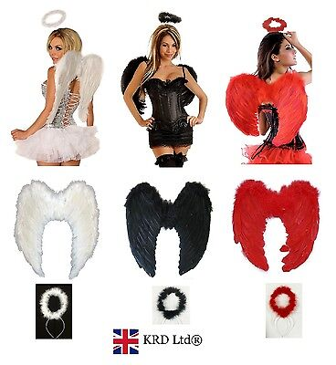 Angel Devil Fairy Feather Wings Halo Fancy Dress Costume Outfit Adult Hen Party