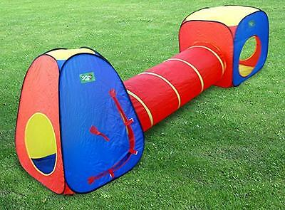 NEW Kids Indoor /Outdoor Tunnel Tents Play Cubby House Combo Pop Up Tent Toy Hut