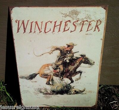 WINCHESTER WEATHERED LOGO Rifles Guns Tin Metal Sign Wall Garage Classic